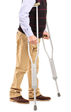 Traditional crutches are one option. Though they can cause pain in the arms, hands and underarms.